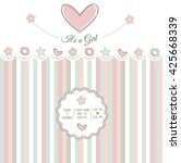 baby girl shower card  vector... | Shutterstock .eps vector #425668339