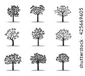 collection of black trees.... | Shutterstock .eps vector #425669605