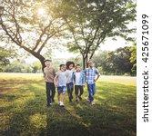 kids fun playful happiness... | Shutterstock . vector #425671099