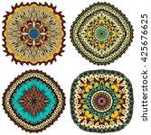 set of ornate  eastern mandala...   Shutterstock . vector #425676625