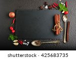 herbs and spices over black... | Shutterstock . vector #425683735