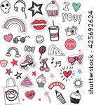 cute patches and stickers sketch | Shutterstock .eps vector #425692624