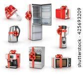 set of kitchen gifts. blender ... | Shutterstock . vector #425693209