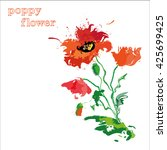 red poppies  oil painting.   Shutterstock .eps vector #425699425