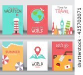 travel and vacation  poster set.... | Shutterstock .eps vector #425702071