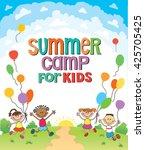 children are jumping ob summer... | Shutterstock .eps vector #425705425