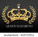 golden crown with queen... | Shutterstock .eps vector #425715511