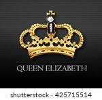 golden crown with queen... | Shutterstock .eps vector #425715514
