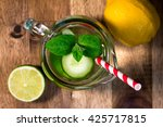 lemonade in the jug  healthy... | Shutterstock . vector #425717815