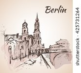 hand drawn berlin street near... | Shutterstock .eps vector #425731264