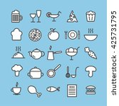collection of 25 food linear... | Shutterstock .eps vector #425731795