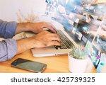 business man working on virtual ... | Shutterstock . vector #425739325