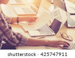 businessgirl working on desk... | Shutterstock . vector #425747911