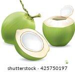 coconut water drink  green...   Shutterstock .eps vector #425750197