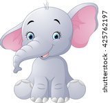 Stock vector cute baby elephant sitting isolated on white background 425762197