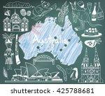 travel to australia doodle... | Shutterstock .eps vector #425788681