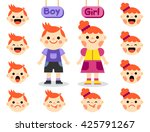cute girl and boy with faces... | Shutterstock .eps vector #425791267