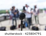 microphone. news conference. | Shutterstock . vector #425804791