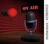 microphone in recording studio  ... | Shutterstock . vector #425805415