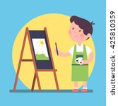 smiling kid artist painting a... | Shutterstock .eps vector #425810359