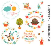 birthday elements with cute... | Shutterstock .eps vector #425822845