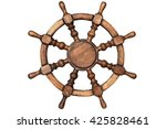 Wooden Steering Wheel Isolated...