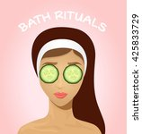 beautiful woman with facial...   Shutterstock .eps vector #425833729