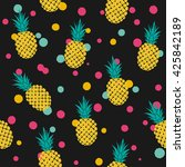 pattern with pineapples  vector ... | Shutterstock .eps vector #425842189
