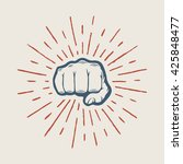 fist with sunbursts in vintage... | Shutterstock .eps vector #425848477