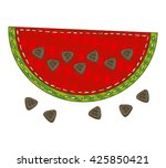 watermelon in patchwork style.... | Shutterstock .eps vector #425850421