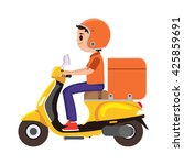 a young boy riding an orange... | Shutterstock .eps vector #425859691