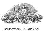 rural landscape with villa ... | Shutterstock .eps vector #425859721