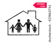 family home icon. scribble icon ... | Shutterstock .eps vector #425863741