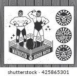 mexican wrestler set. lucha... | Shutterstock .eps vector #425865301