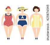three retro ladies in swimming... | Shutterstock .eps vector #425876545