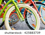 three beautiful lady city... | Shutterstock . vector #425883739