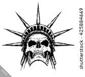 black and white engrave evil... | Shutterstock .eps vector #425884669