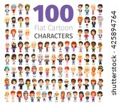 big set of 100 casually dressed ... | Shutterstock .eps vector #425894764
