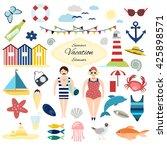 set of retro summer vacation... | Shutterstock .eps vector #425898571
