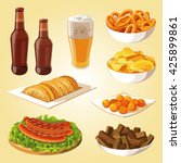 beer  snack to beer  sausages ... | Shutterstock .eps vector #425899861