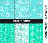 hand drawn seamless pattern set.... | Shutterstock .eps vector #425900941