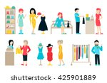 vector shopping and shipping... | Shutterstock .eps vector #425901889