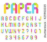 folded color paper font. full... | Shutterstock .eps vector #425903335