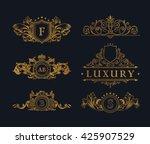 vintage gold logos crest set.... | Shutterstock .eps vector #425907529