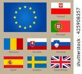 Set Of European Countries Flag...