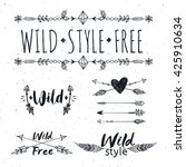 hand drawn boho design elements ... | Shutterstock .eps vector #425910634