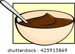 chocolate pudding in bowl with... | Shutterstock .eps vector #425915869