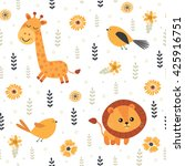 animals. seamless pattern with... | Shutterstock .eps vector #425916751