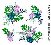 a set floral bouquets. four... | Shutterstock . vector #425931781