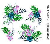 a set floral bouquets. four... | Shutterstock . vector #425931781